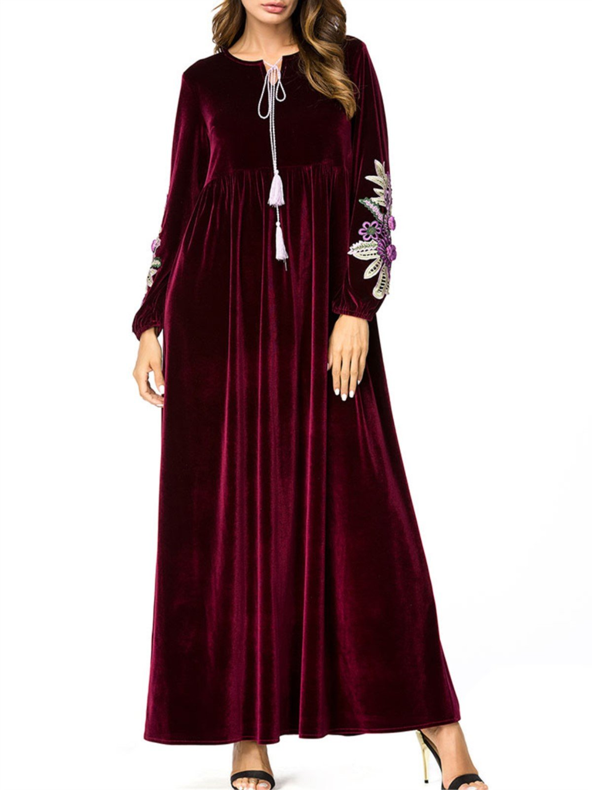 Plus Size Burgundy Floral Embroidered Dress