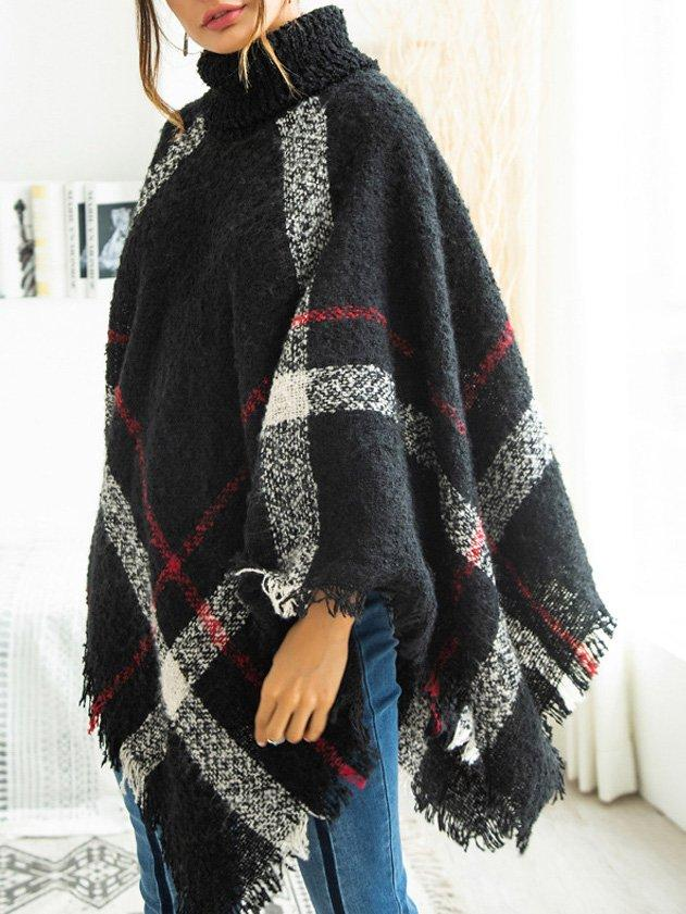 Fringed Turtleneck Sweet Batwing Shawl Coat