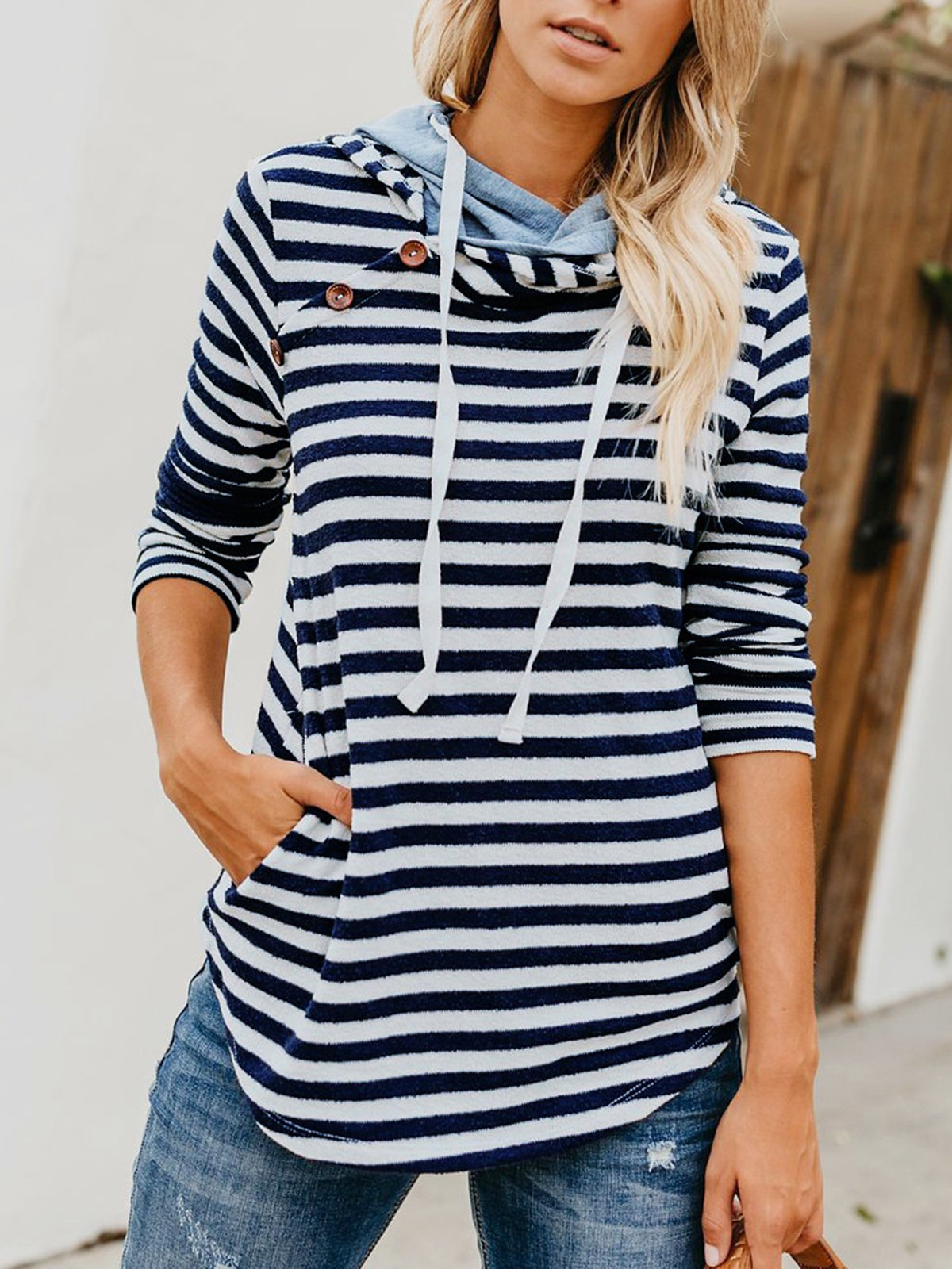 Patchwork Striped Printed  Hooded Sweater