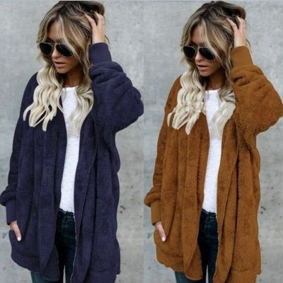 Faux Fur Hooded Pockets Plain Coat