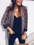 Casual Leopard Print Lapel Collar Coat