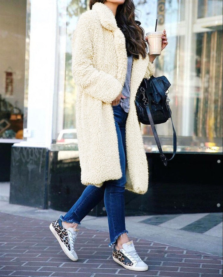 Women Lapel Open Front Long Faux Fur Coat