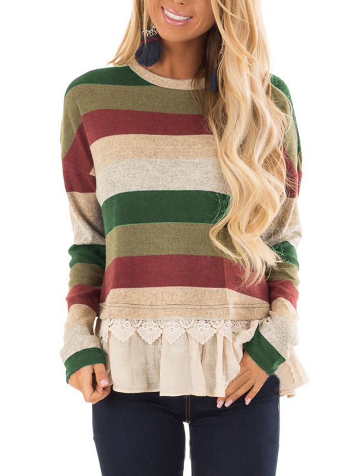 Striped Crew Neck Long Sleeve Lace T-Shirts