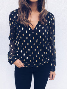 Vintage V Neck Polka Dots Blouse