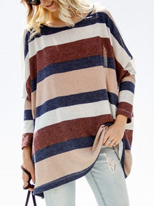 Crew Neck Printed Long Sleeve Striped Sweaters