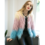 Faux Fur Long Sleeve Short Coat