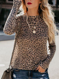 Leopard Leopard Print Long Sleeve Sexy Cotton T-Shirts