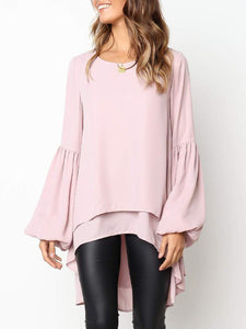 Crew Neck Chiffon Frill Sleeve Sweet T-Shirts