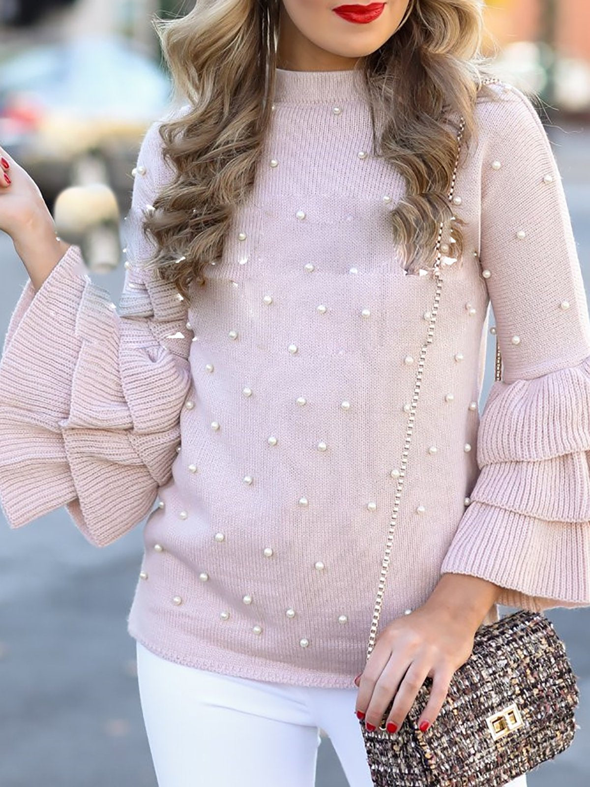 Pink Elegant Turtleneck Beaded Solid Shift Sweaters