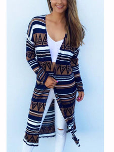 Casual Round Neck Long Sleeve Cardigan