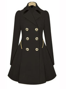 Solid Color Long-sleeved Trench Coat