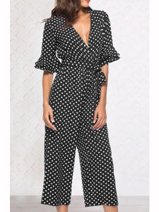 Casual V-neck Print Jumpsuit