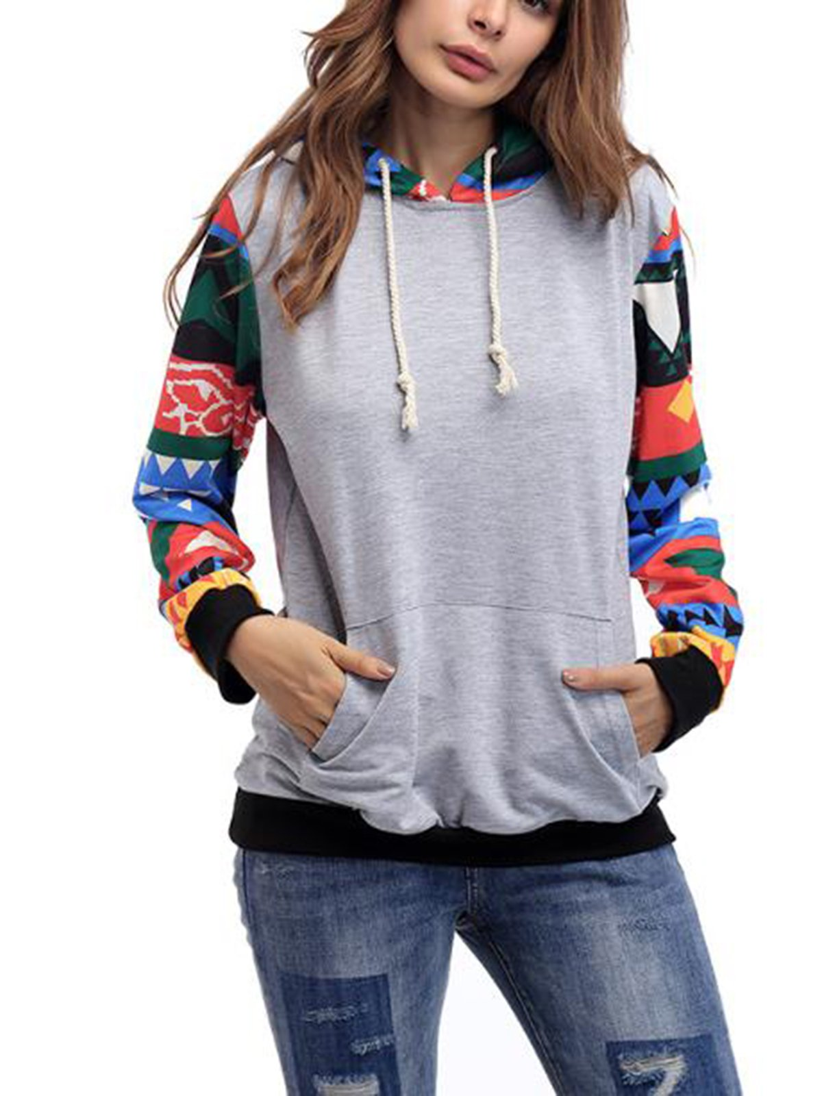 Long Sleeve Stitching Hooded Casual Hoodies