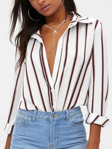 Fashion V-neck Long-sleeved Blouse