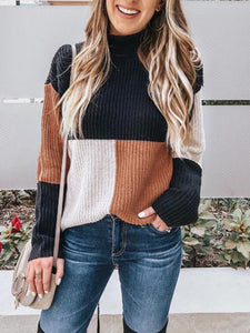 Casual Round Neck Stitching Sweater