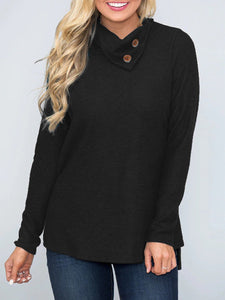 Casual Solid Buttoned Cotton T-shirt