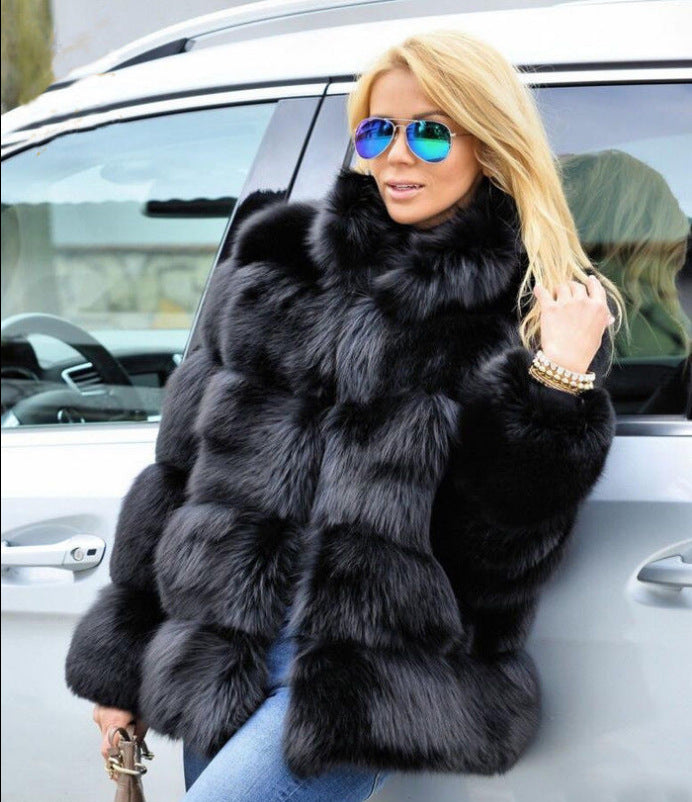 Women Stand Collar Long Sleeve Fur Coat
