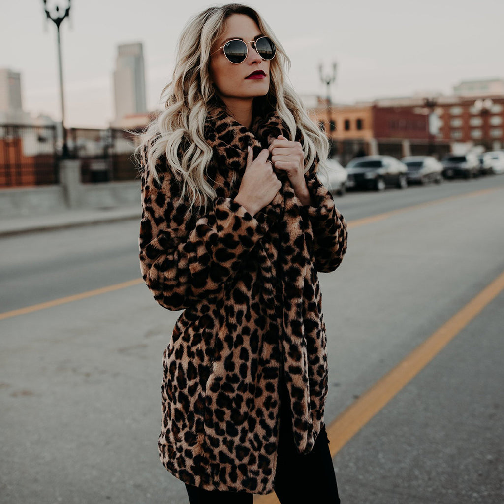 Warm Fashion Leopard  fur Women Coat