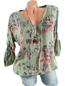 Vintage Long Sleeve Printed V Neck Blouses