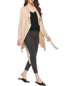 Casual Shawl Collar Trench