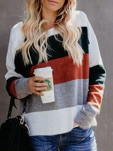 Color-Block Striped Crew Neck Long Sleeve Sweaters