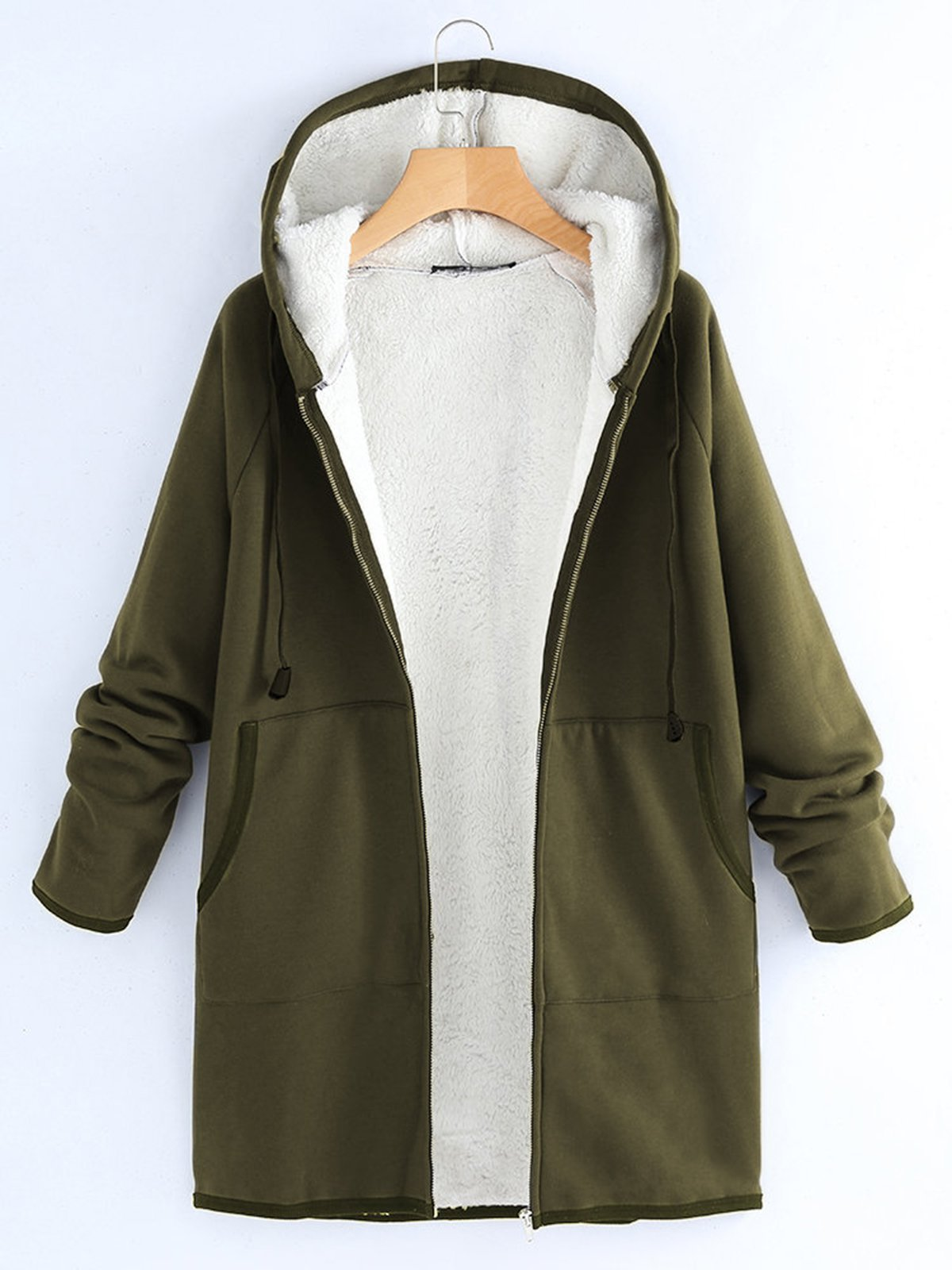 Plain Cotton Casual Long Sleeve Coat