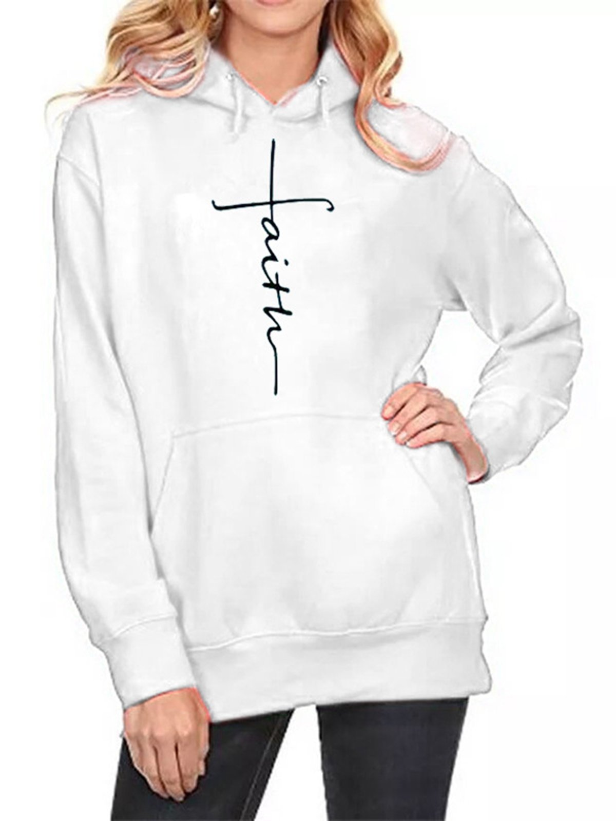 Casual Cotton-Blend Hoodie Long Sleeve Hoodies