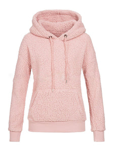 Casual Solid Pockets Teddy Bear Hoodies