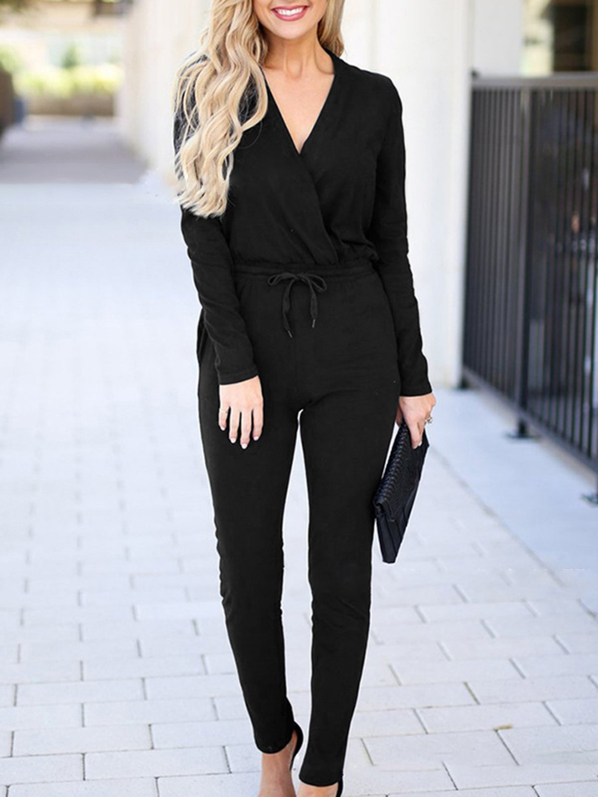 Knitted Lace Up Sexy V Neck Jumpsuits