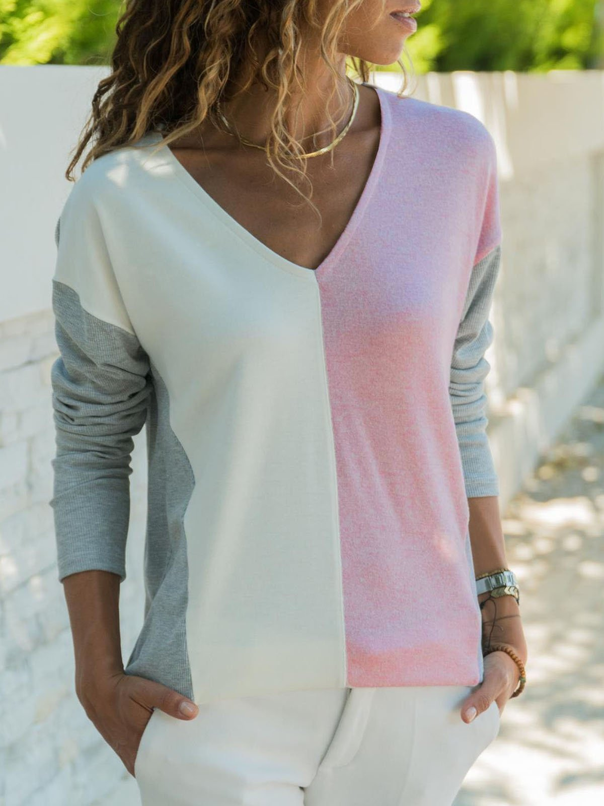 Long Sleeve Vintage Geometric V Neck T-Shirts