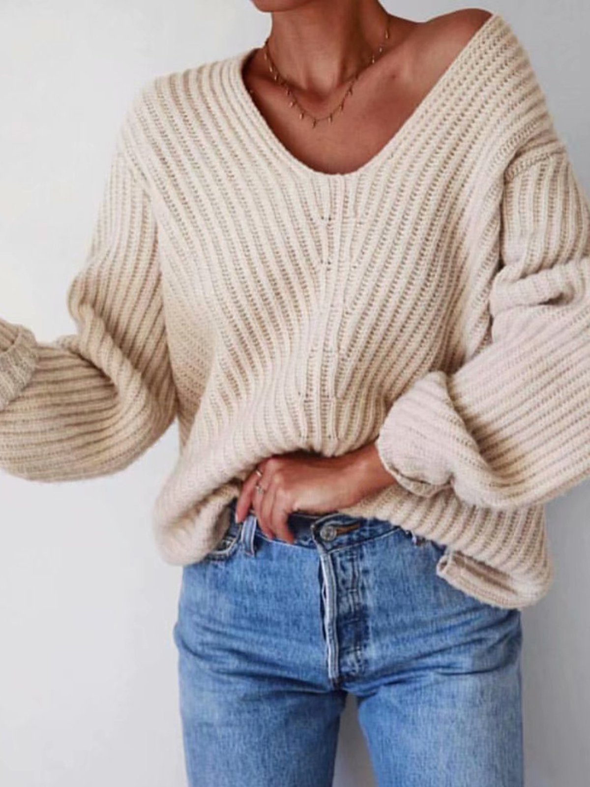 Solid Long Sleeve Knitted Vintage Sweaters