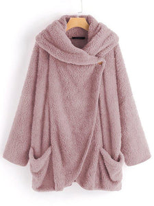 Plus Size Faux Fleece Cozy Cloak Coat