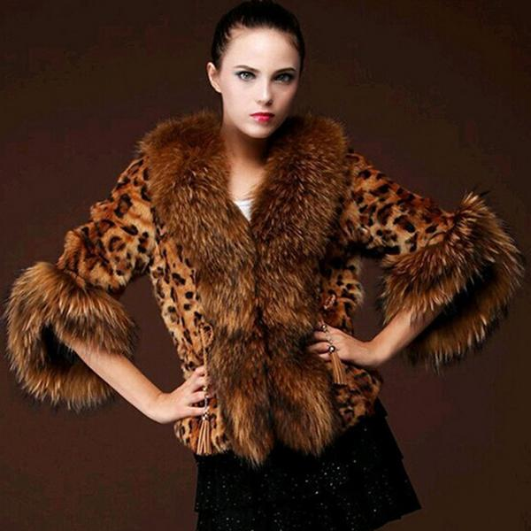 Fox Fur Coat - Leopard print