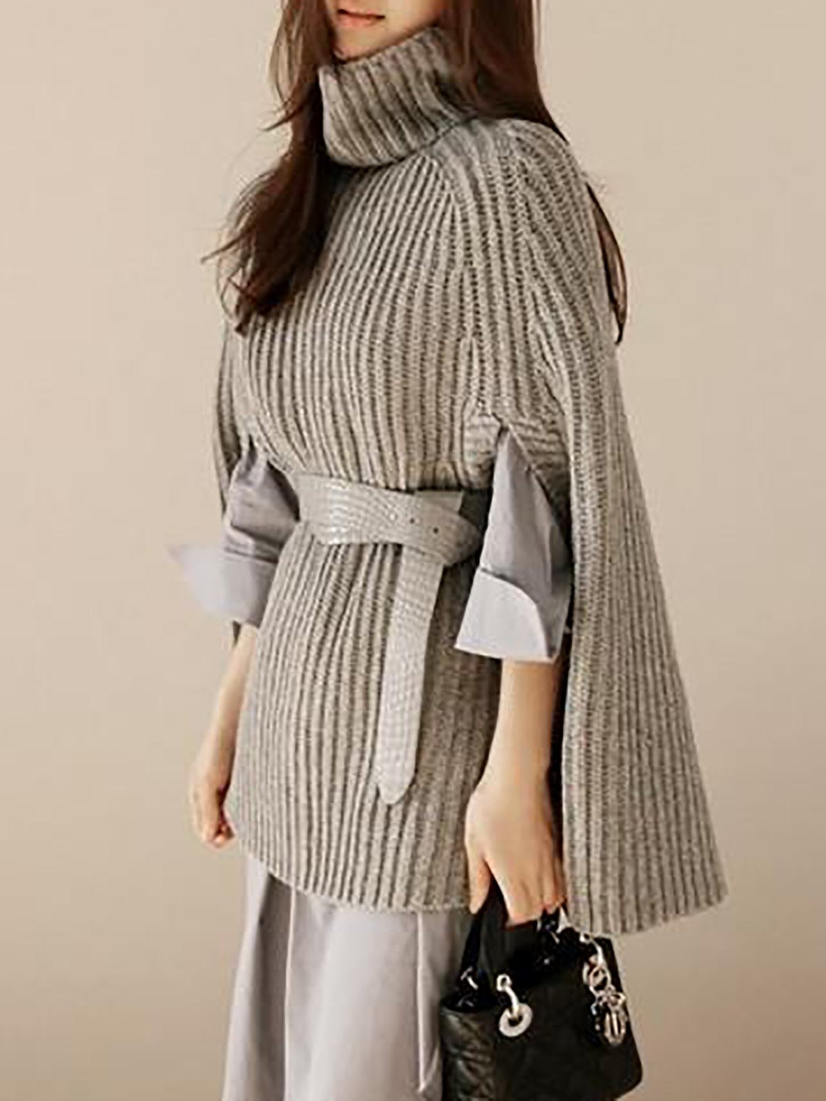 Ribbed Casual Cape Sleeve Turtleneck Sweater
