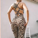One Piece Leopard Print Workout Bodysuit