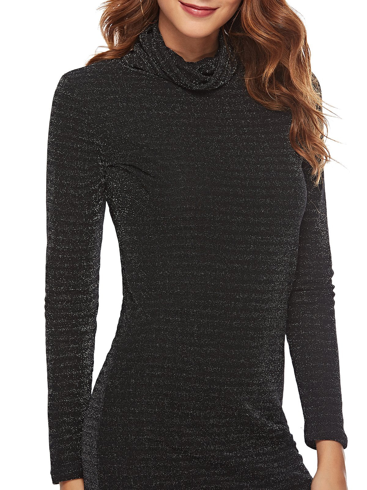 Turtle Neck Black Sheath Shimmer Tunics