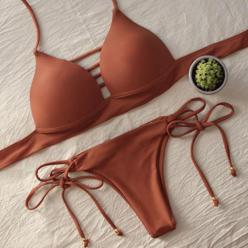 Lace Up Multi Strings Swimwear Bikini Set