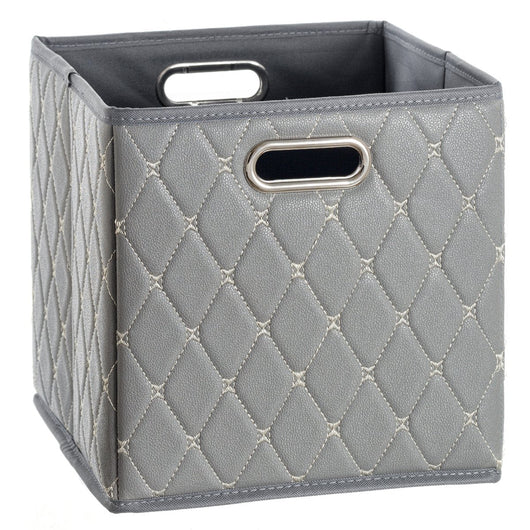 Leather Basket, Gray