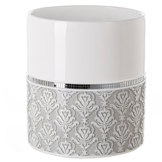 Mirror Damask Wastebasket