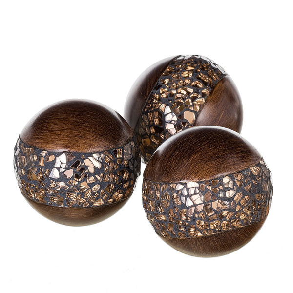 Schonwerk Decorative Orbs, Set of 3 - Brown