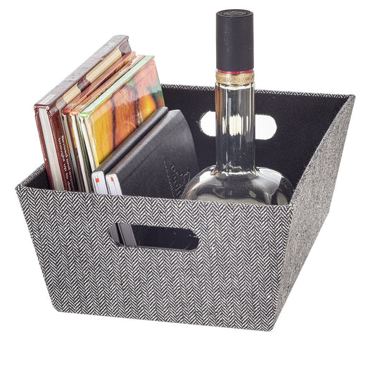 Open Bin Medium - Herringbone Black