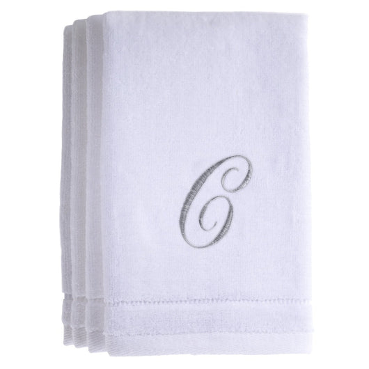 Set of 4 monogrammed towels - Initial C