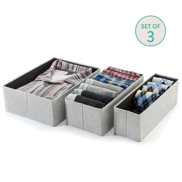 3Pcs Set Decorative Foldable Organizers - Gray Birch