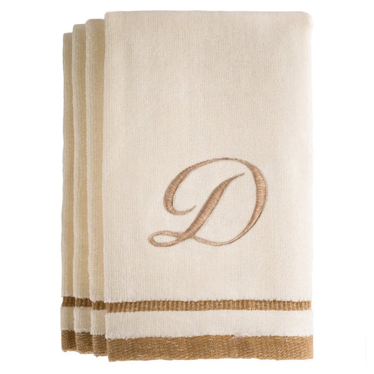 Set of 4 monogrammed towels - Initial D
