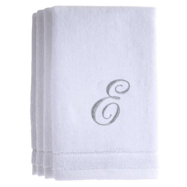Set of 4 monogrammed towels - Initial E