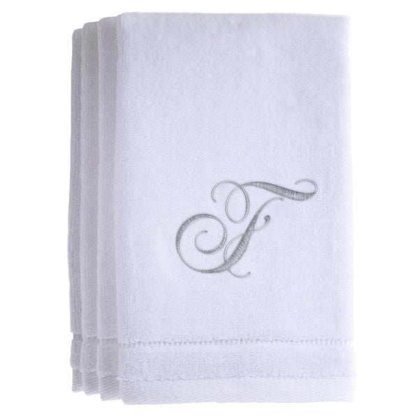 Set of 4 monogrammed towels - Initial F