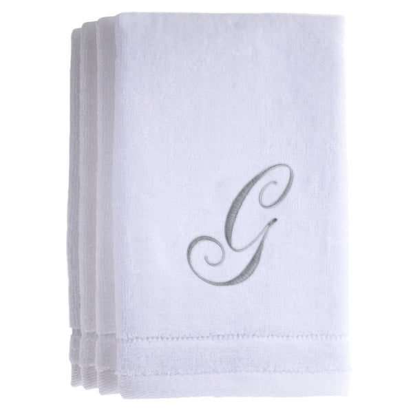 Set of 4 monogrammed towels - Initial G