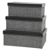 Storage Boxes set of 3, Herringbone Black