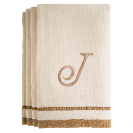 Set of 4 monogrammed towels - Initial J