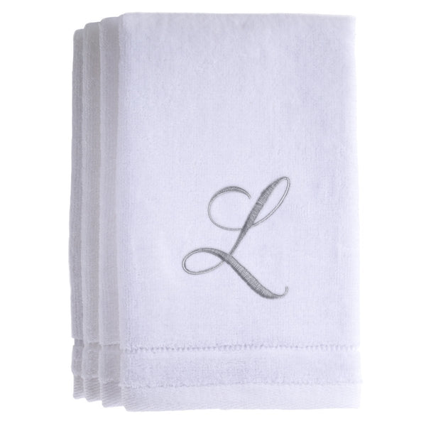 Set of 4 monogrammed towels - Initial L